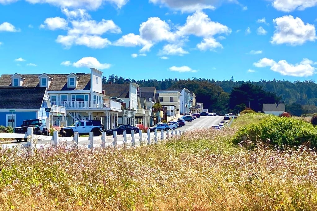 Main Street Mendocino as seen from the Marin Headlands State Park. This is a gorgeous stop on a Highway 1 road trip through Northern California