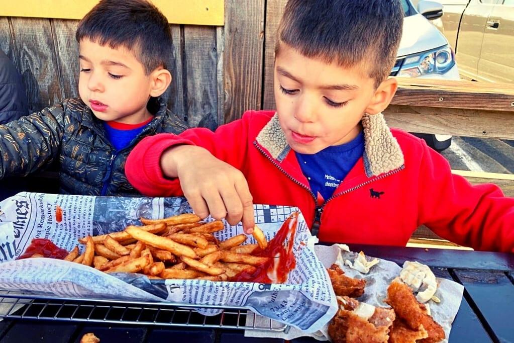 Digging into Fish and Chips at the Noyo Fish Company
