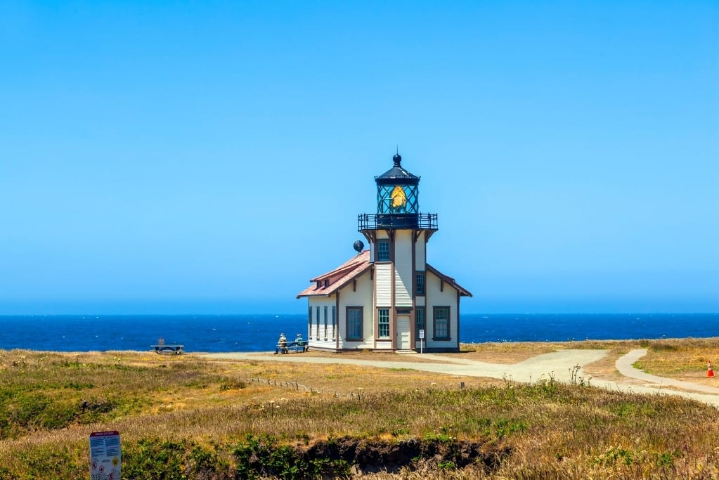 Point Cabrillo Lighthouse with the sea in the background