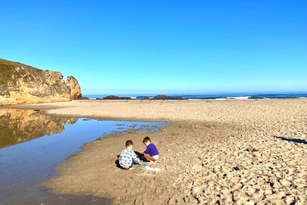 The boys playing on Pudding Creek Beach, a fast favorite. They preferred the creek to the ocean.