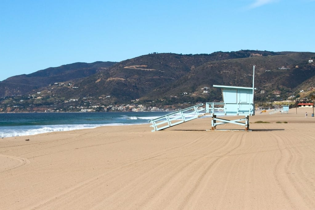 LIfeguard Tower at Zuma Beach. The gorgeous beach is a great place to break up the drive on your Highway 1 road trip.