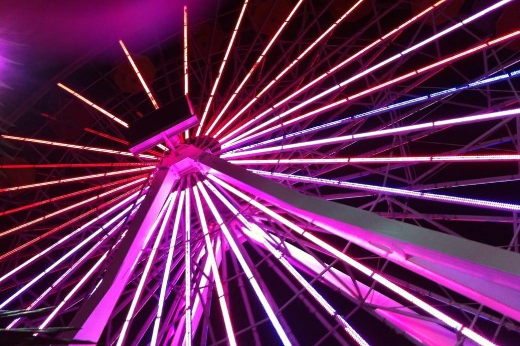 Looking up at the Santa Monica Pier Ferris Wheel at Night