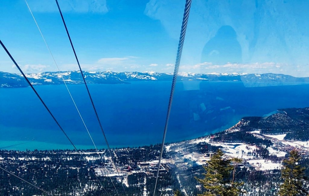 Lake Tahoe is one of the best places to visit in California in December - as seen from the Heavenly Gondola