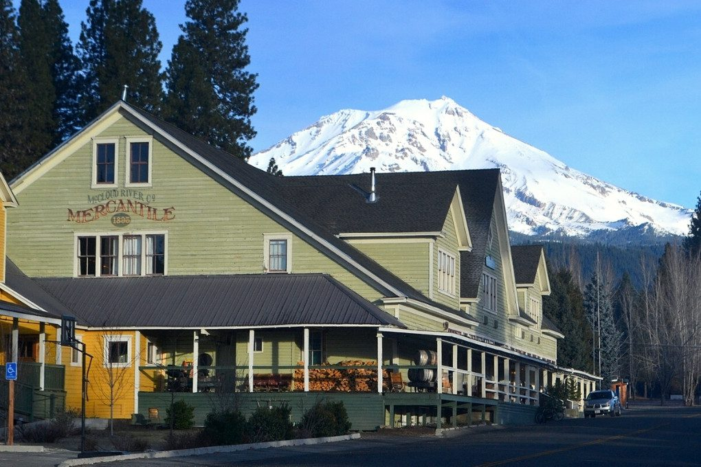 McCloud River Mercantile Hotel with Mount Shasta in the Background