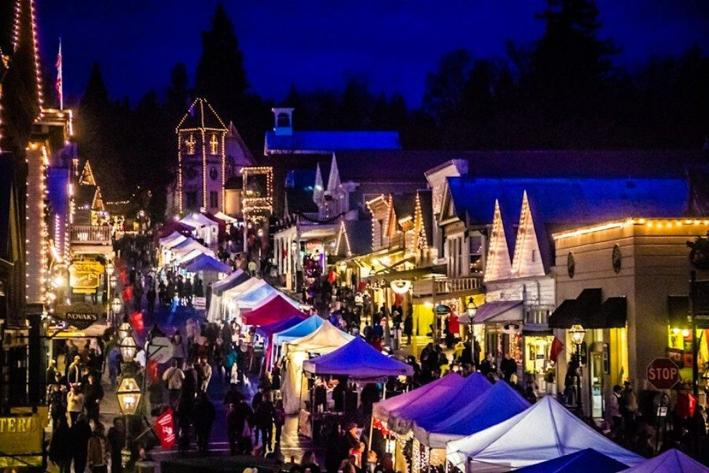 Downtown Nevada City Lit Up for the Victorian Christmas Street Fair