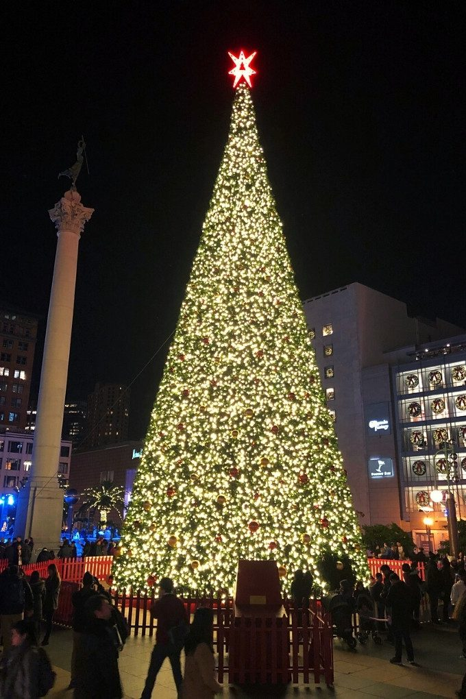 Holiday decorations in Union Square, San Francisco