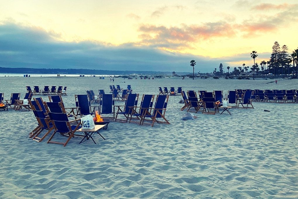 Bonfires on the Beach in front of the Hotel del Coronado make San Diego a great place to visit in California in December