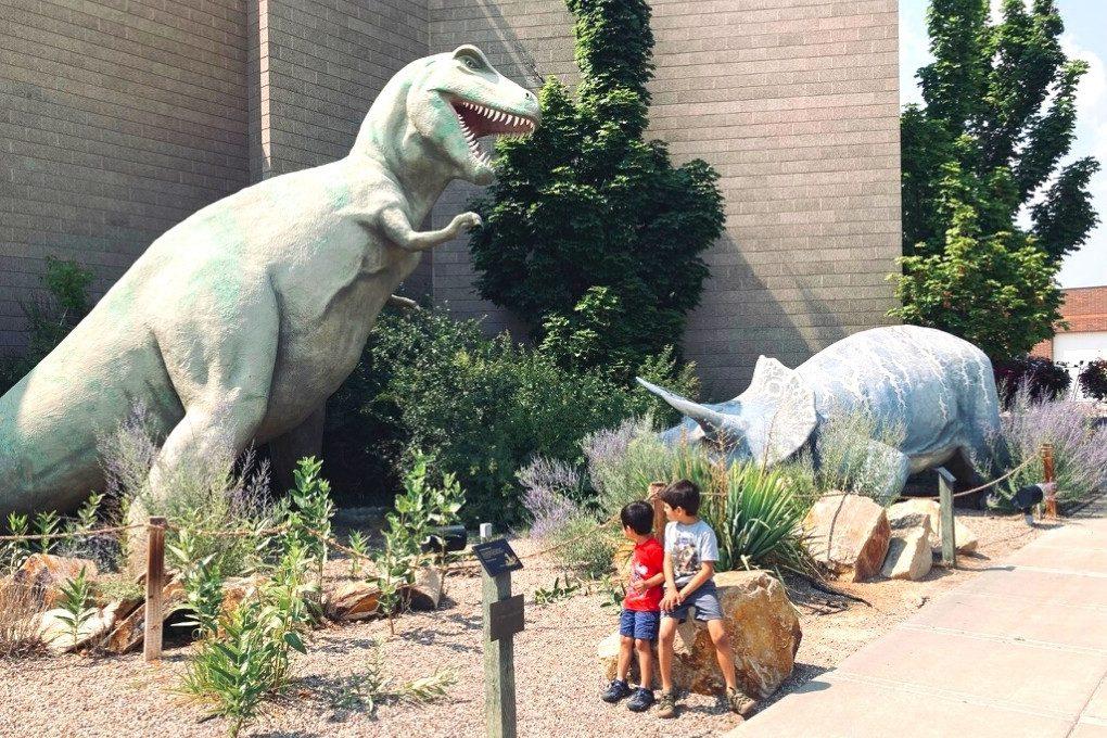 Watching their backs at the Dinosaur Gardens in Vernal, Utah