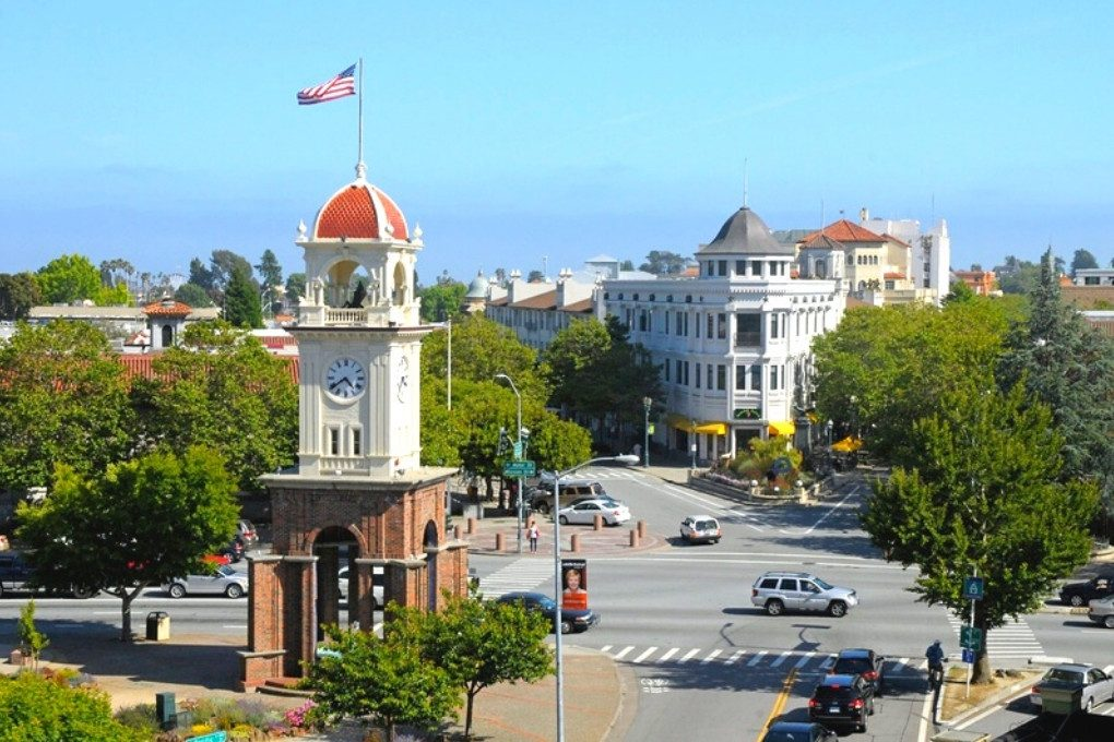 The Town Clock and The Flatiron Building, and the intersection of Pacific Avenue, Mission Street, Water Street, and Front Street (Photo Credit localwiki)