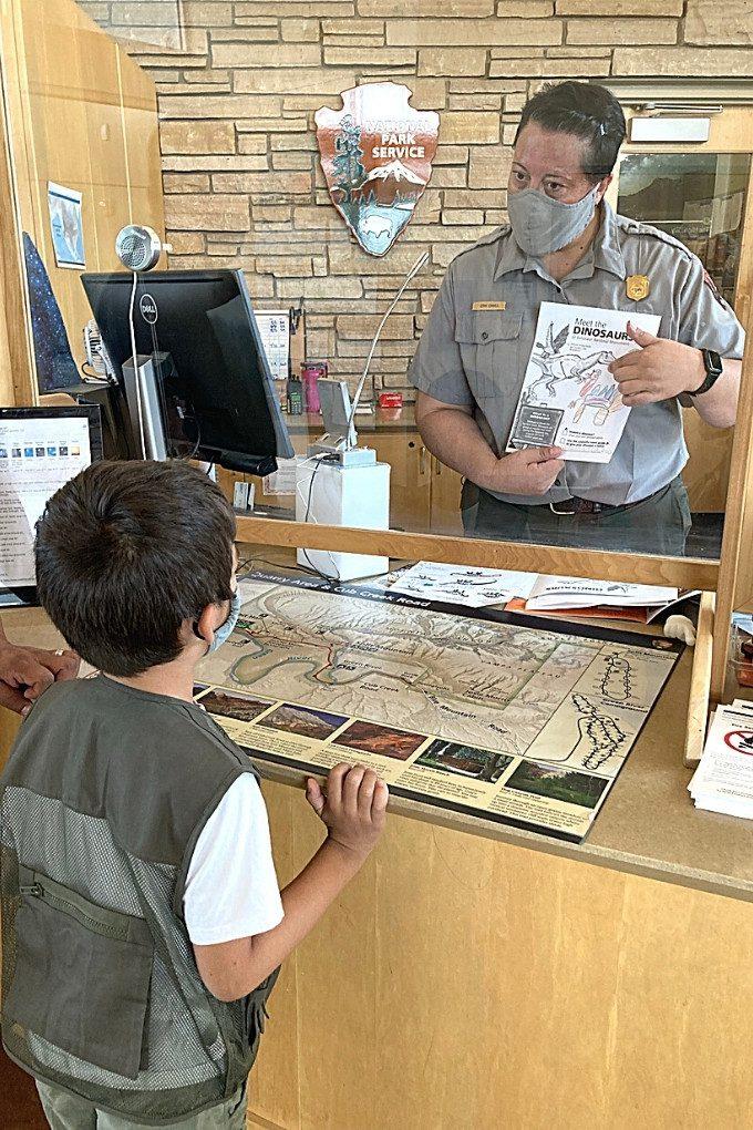 Getting the Jr Ranger Badge at Dinosaur National Park