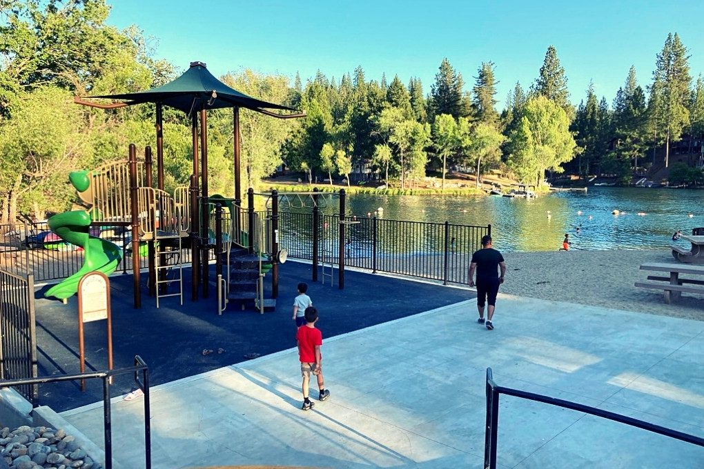 Playground at Lake Lodge Beach, Pine Mountain Lake near sunset